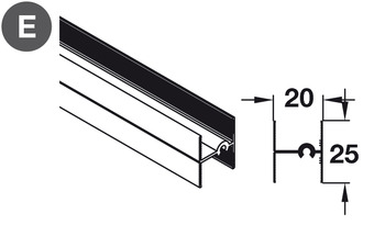 Additional Horizontal Profile, for Sliding Aluminium Framed Wardrobe or Partition Doors, Slido 45