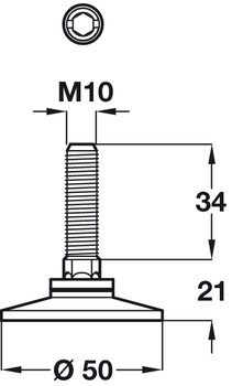 Adjusting Screw, M10 with Fixed Foot, Length 34 mm