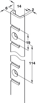Bookcase Strip, 'U' Section, Heavy Duty Superior Strength, for Commercial Bookcases and Shelving