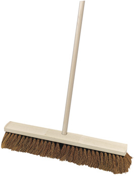 Broom, Industrial, Wooden, with Coco Bristles and Handle