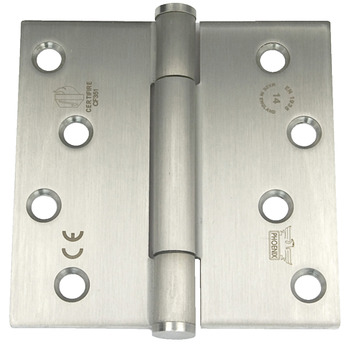 Butt Hinge, Concealed Bearing, 3 Knuckle, Fixed Pin, 102 x 102 mm, Stainless Steel