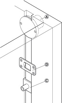 Central Locking System, With Ø 18 mm Rotary Cylinder, for Installation in Cabinet Side Panel