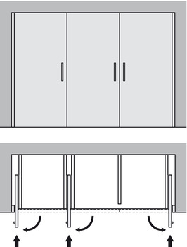 Complete Set, for Pivot Sliding Cabinet Doors, Hawa-Concepta