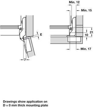 Concealed Cup Hinge, 110° for Cabinet with Refrigerator, Keyhole Fixing Arm