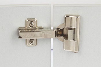Concealed Cup Hinge, 110° Integrated Soft Close, Half Overlay Mounting, with Standard Depth Adjustment, Häfele