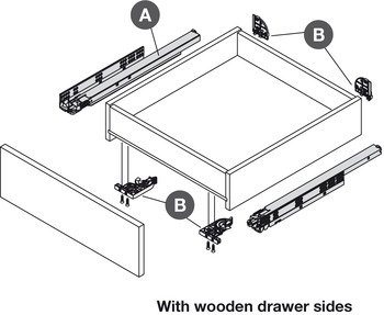Concealed Drawer Runners, Full Extension, Packed Set with 4D Fixing Clips, Dynapro 40 kg