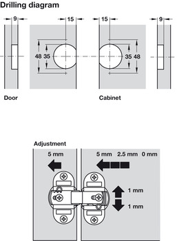 Concealed Mortice Hinge, 180°, for Folding Doors