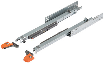 Concealed runners, Blum Movento 760 H full extension, load-bearing capacity up to 40 kg, steel, for surface mounting, snap-in coupling
