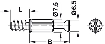 Connecting Bolt, S200, reduced play, System Minifix<sup>®</sup>, for drill hole Ø: 5 mm