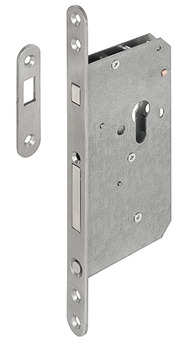 Cylinder Hookbolt Lock Case, Mortice, for Sliding Doors, Steel