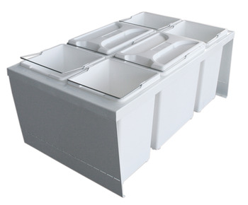 Drawer Box Waste Bin, for Door Front Mounting, 2x 12, 4x 7.5 Litres, Cube 800 S