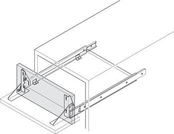 Drawer Runners with Drop Front Hinged Brackets, Single Extension, Load Capacity 30 kg, Accuride 2023