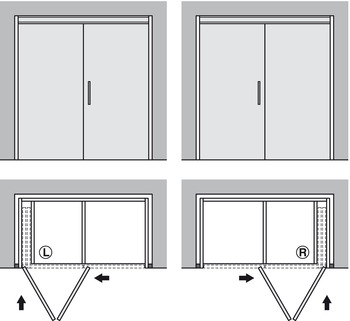 Fitting Set, for Folding and Pivoting Cabinet Doors, Hawa-Folding Concepta 25