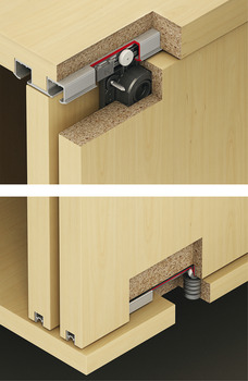 Fitting Set, for Sliding Cabinet Doors, Eku Clipo 26 H, Top hung system