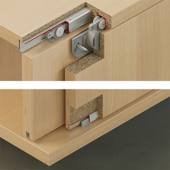 Fitting Set, for Sliding Cabinet Doors, Slido Classic 12 IF C