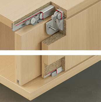 Fitting Set, for Sliding Cabinet Doors, Slido Classic 20 IF C