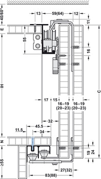 Fitting Set, for Sliding Cabinet Doors, Slido Classic 50 VF P