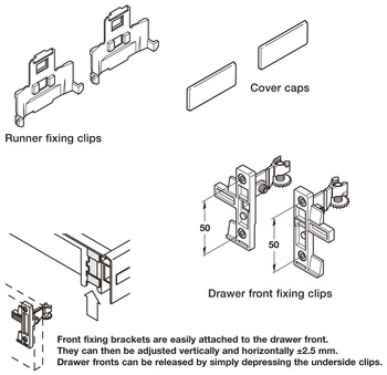 Fixing Component Set, for Moulded Plastic Drawers, Plastic