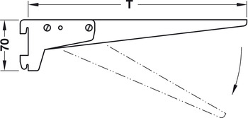 Flange Bracket, With angled screw fixing surface, with adjustable carrier arm