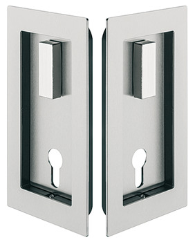 Flush Pull Handle and Backplate Set, for Sliding Wooden Doors