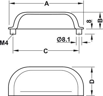furniture handle, Inset handle, brass