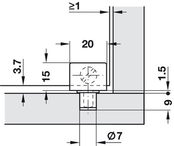 Glass Door Hinge, 90° Pivot, Unsprung, for Max. Glass Thickness 6.8 mm
