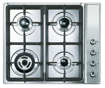 Hob, Gas, with Side Controls And Cast Iron Pan Stands, 590 mm, Smeg Classic