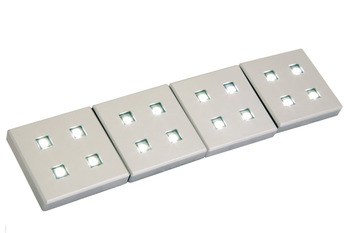LED Plinth Light 12 V, 38 x 38 mm, Rated IP20, 4 Light Set with Driver
