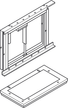 Mounting Frame with Safety Stop, for Diagonally Down/Forward Adjustable Wall Cupboards, Ropox