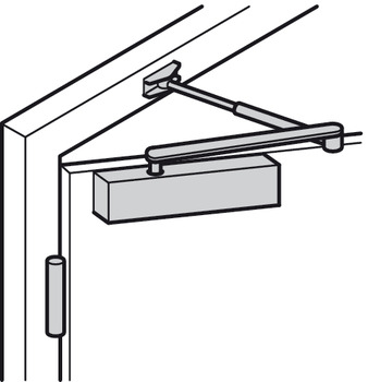 Overhead door closer, Startec DCL 80, with arm, EN 2–4, with hold open arm