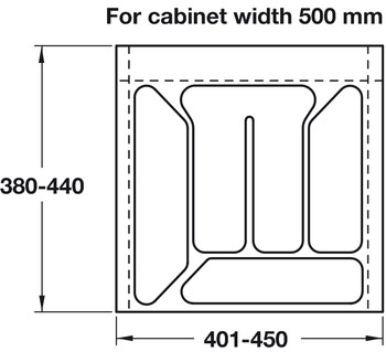 Plastic Cutlery Insert, for Cabinet Depth 500 mm, for Cabinet Width 300-600 mm
