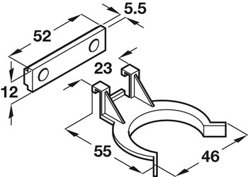 Plinth Panel Clip, for Connecting Panel to Foot, Screw Fixing