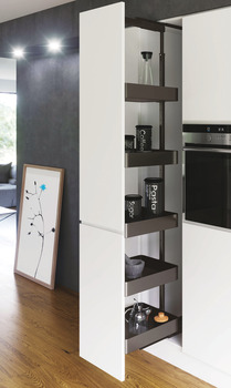Pull Out Larder Unit, Planero Lava Grey Baskets, VS TAL Larder