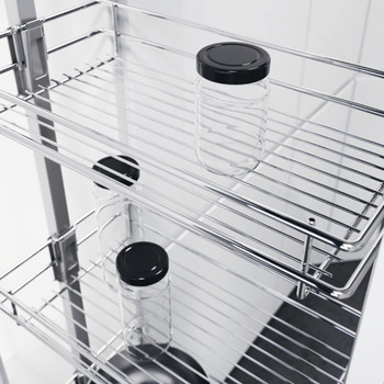 Pull Out Larder Unit, with Classic Chrome Linear Wire Storage Baskets, Height Adjustable, Vauth-Sagel VS TAL Larder