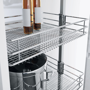 Pull Out Larder Unit, with Saphir Mesh Chrome Wire Storage Baskets,Centre Mounting,Height Adjustable,Vauth-Sagel VS TAL Larder