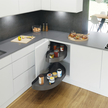 Pull Out Shelving Unit, Lava Grey Curve Shelves, Vauth-Sagel CORNERSTONE MAXX
