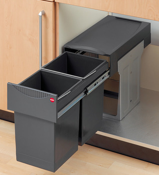 Pull Out Waste Bin, for Hinged Door Cabinets, Hailo Tandem