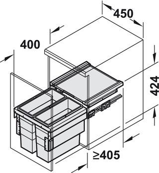 Pull Out Waste Bin, 1 x 30 litres / 1 x 55 litres / 2 x 18 litres / 1 x 28 and 1 x 18 litres / 1 x 18 and 2 x 13 litres / 2 x 28 litres / 1 28 and 2 x 13 litres, Hailo Cargo Synchro