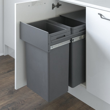 Pull Out Waste Bin, for Hinged Door Cabinet Width Min. 400 mm, Waste Boss Duo