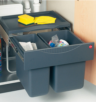 Pull Out Waste Bin, Pull Out, 1x 18 and 1x 12 Litres, Space Saving Tandem