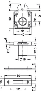 Roller shutter rim lock, For fixed plate cylinder, backset 24.5 mm