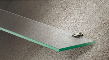 Shelf Support, Clamp Design, Screw Fixing, for 5-7 mm Glass and Wood Thickness