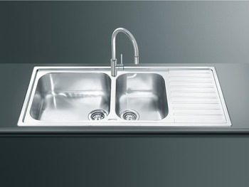 Sink, Double Bowl and Drainer, Smeg Alba LG116