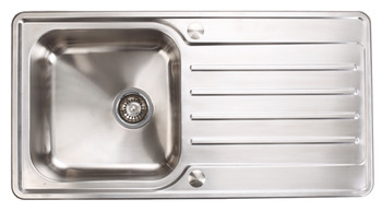 Sink, Stainless Steel Single Bowl and Drainer, 965 mm, Häfele Abbey