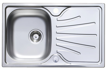 Sink, Stainless Steel Single Compact Bowl and Drainer, Langdale