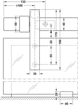 Sliding door fitting, Slido Design 80-W, set