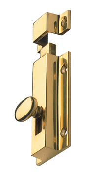 Surface Bolt, Knob Slide Action, Face Fixing, Brass