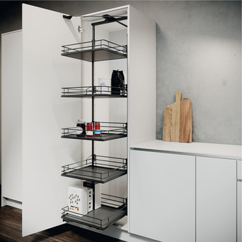 Swing Out Larder Unit , Complete Set, Centre Mounting, Height Adjustable, Full Extension with Premea Lava Grey Solid Base and Wire Baskets