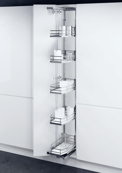 Swing Out Larder Unit, For Cabinet Width 300-400 mm, Premea White Baskets, Vauth-Sagel VS TAL Gate N