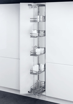 Swing Out Larder Unit , For Cabinet Width 300-400 mm, with Saphir Mesh Chrome Wire Storage Baskets, Vauth-Sagel VS TAL Gate N